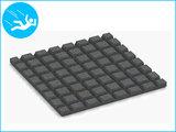 RubbertegelXL - Rubberen Speelplaatstegel - 50x50x2,5 cm Grijs - Onderkant