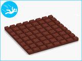 RubbertegelXL - Rubberen Speelplaatstegel - 50x50x3 cm Rood - met Pen/Gatverbinding - Onderkant