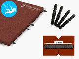 RubbertegelXL - Rubberen Speelplaatstegel - 50x50x4 cm Rood - met Pen/Gatverbinding - de Pen/Gatverbinding