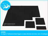 RubbertegelXL - Rubberen Speelplaatstegel - 50x25x6,5 cm Zwart - Bovenkant - Legverband Advies