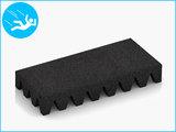 RubbertegelXL - Rubberen Speelplaatstegel - 50x25x6,5 cm Zwart - Bovenkant