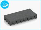 RubbertegelXL - Rubberen Speelplaatstegel - 50x25x6,5 cm Grijs - Bovenkant