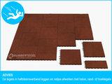 RubbertegelXL - Rubberen Speelplaatstegel - 50x25x10 cm Rood - Bovenkant - Legverband Advies