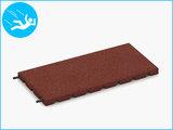 RubbertegelXL - Rubberen Speelplaatstegel - 50x25x3 cm Rood - met Pen/Gatverbinding - Bovenkant