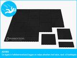 RubbertegelXL - Rubberen Speelplaatstegel - 50x50 cm Zwart - Hoek - Advies