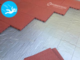 RubbertegelXL - Rubberen Speelplaatstegel - 50x50x3 cm Rood - met Pen/Gatverbinding - Voorbeeld
