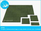 RubbertegelXL - Rubberen Speelplaatstegel - 50x50x4 cm Groen - met Pen/Gatverbinding - Advies