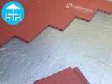 RubbertegelXL - Rubberen Terrastegel - 50x50x3 cm Rood - met Pen/Gatverbinding - Voorbeeld