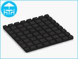 RubbertegelXL - Rubberen Terrastegel - 50x50x3 cm Zwart - met Pen/Gatverbinding - Onderkant
