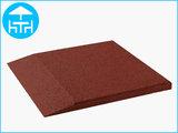RubbertegelXL - Rubberen Terrastegel - 50x50 cm Rand Rood - Bovenkant