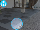 RubbertegelXL - Rubberen Terrastegel - 50x50 cm Rand Zwart - met Pen/Gatverbinding - Bovenkant - Voorbeeld