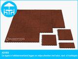RubbertegelXL - Rubberen Terrastegel - 50x50 cm Rand Rood - met Pen/Gatverbinding - Advies