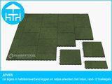 RubbertegelXL - Rubberen Terrastegel - 50x50 cm Rand Groen - met Pen/Gatverbinding - Advies