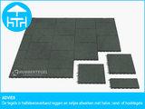 RubbertegelXL - Rubberen Terrastegel - 50x50 cm Rand Grijs - met Pen/Gatverbinding - Advies