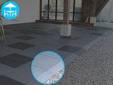 RubbertegelXL - Rubberen Terrastegel - 50x50 cm Hoek Grijs - Voorbeeld