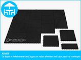 RubbertegelXL - Rubberen Terrastegel - 50x50 cm Hoek Zwart - met Pen/Gatverbinding - Advies