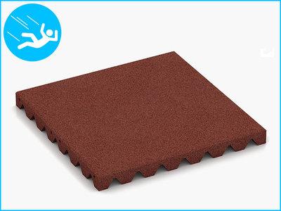 RubbertegelXL - Rubberen Speelplaatstegel - 50x50x4,5 cm - Rood - Bovenkant