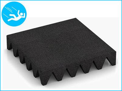 RubbertegelXL - Rubberen Speelplaatstegel - 50x50x10 cm Zwart - Bovenkant