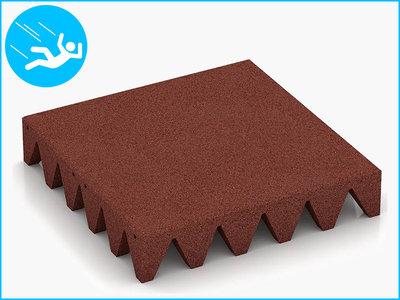 RubbertegelXL - Rubberen Speelplaatstegel - 50x50x10 cm Rood - Bovenkant