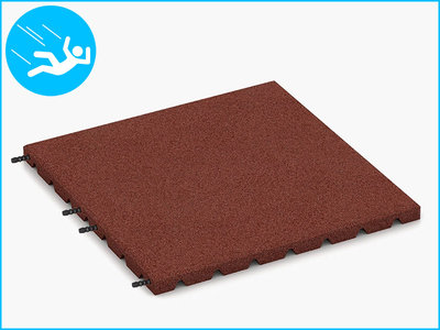 RubbertegelXL - Rubberen Speelplaatstegel - 50x50x3 cm Rood - met Pen/Gatverbinding - Bovenkant