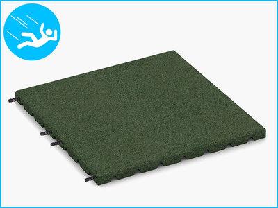 RubbertegelXL - Rubberen Speelplaatstegel - 50x50x3 cm Groen - met Pn/Gatverbinding - Bovenkant