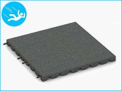 RubbertegelXL - Rubberen Speelplaatstegel - 50x50x4 cm Grijs - met Pen/Gatverbinding - Bovenkant