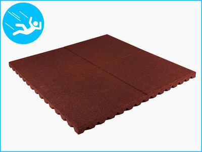 RubbertegelXL - Rubberen Speelplaatstegel - 100x100x4 cm Rood - Bovenkant
