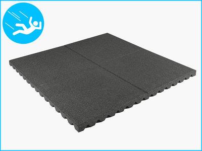 RubbertegelXL - Rubberen Speelplaatstegel - 100x100x4 cm Grijs - Bovenkant
