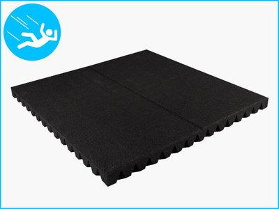 RubbertegelXL - Rubberen Speelplaatstegel - 100x100x6,5 cm Zwart - Bovenkant