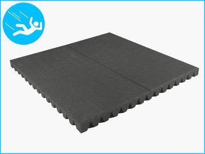 RubbertegelXL - Rubberen Speelplaatstegel - 100x100x6,5 cm Grijs - Bovenkant