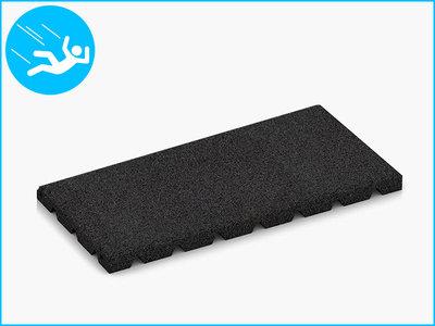 RubbertegelXL - Rubberen Speelplaatstegel - 50x25x3 cm Zwart - Bovenkant