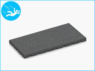 RubbertegelXL - Rubberen Speelplaatstegel - 50x25x3 cm Grijs - Bovenkant