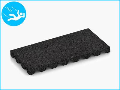 RubbertegelXL - Rubberen Speelplaatstegel - 50x25x4 cm - Zwart - Bovenkant