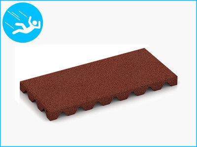 RubbertegelXL - Rubberen Speelplaatstegel - 50x25x4 cm Rood - Bovenkant