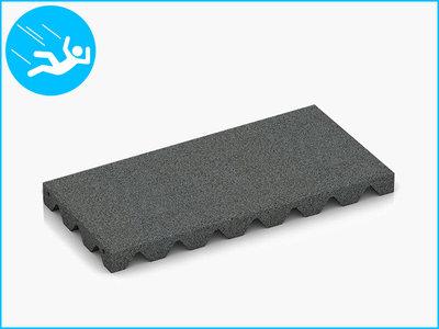 RubbertegelXL - Rubberen Speelplaatstegel - 50x25x4 cm Grijs - Bovenkant