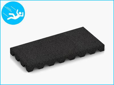 RubbertegelXL - Rubberen Speelplaatstegel - 50x25x4,5 cm Zwart - Bovenkant