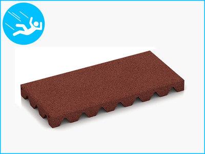 RubbertegelXL - Rubberen Speelplaatstegel - 50x25x4,5 cm Rood - Bovenkant