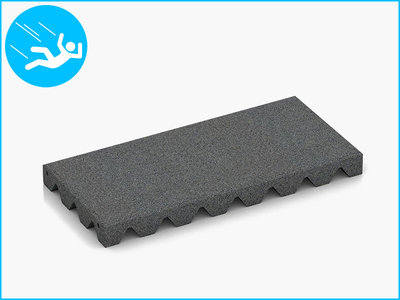 RubbertegelXL - Rubberen Speelplaatstegel - 50x25x4,5 cm - Grijs - Bovenkant