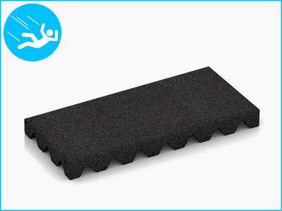 RubbertegelXL - Rubberen Speelplaatstegel - 50x25x5 cm Zwart - Bovenkant