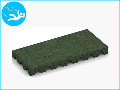 RubbertegelXL - Rubberen Speelplaatstegel - 50x25x5 cm Groen - Bovenkant