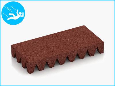 RubbertegelXL - Rubberen Speelplaatstegel - 50x25x6,5 cm Rood - Bovenkant