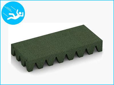 RubbertegelXL - Rubberen Speelplaatstegel - 50x25x6,5 cm Groen - Bovenkant