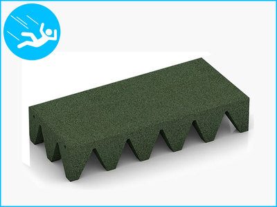 RubbertegelXL - Rubberen Speelplaatstegel - 50x25x10 cm Groen - Bovenkant