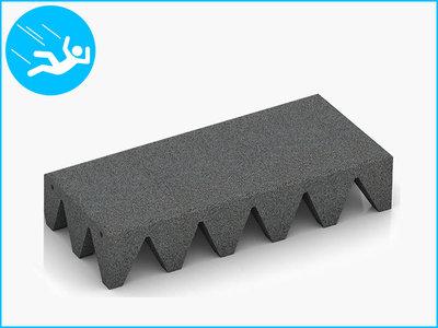 RubbertegelXL - Rubberen Speelplaatstegel - 50x25x10 cm Grijs - Bovenkant