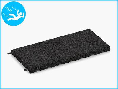 RubbertegelXL - Rubberen Speelplaatstegel - 50x25x3 cm Zwart - met Pen/Gatverbinding - Bovenkant