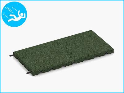 RubbertegelXL - Rubberen Speelplaatstegel - 50x25x3 cm Groen - met Pen/Gatverbinding - Bovenkant
