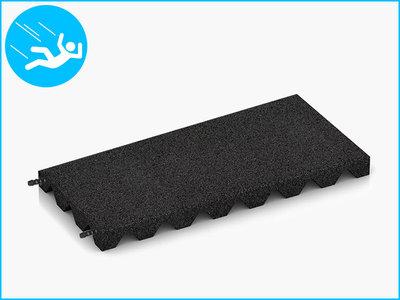 RubbertegelXL - Rubberen Speelplaatstegel - 50x25x4 cm Zwart - met Pen/Gatverbinding - Bovenkant