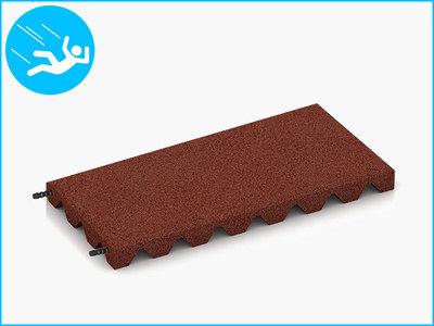 RubbertegelXL - Rubberen Speelplaatstegel - 50x25x4 cm Rood - met Pen/Gatverbinding - Bovenkant