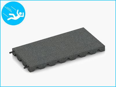 RubbertegelXL - Rubberen Speelplaatstegel - 50x25x4 cm Grijs - met Pen/Gatverbinding - Bovenkant
