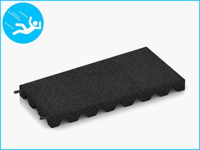 RubbertegelXL - Rubberen Speelplaatstegel - 50x25x4,5 cm Zwart - met Pen/Gatverbinding - Bovenkant